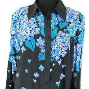 Bob Mackie Wearable Art Floral Blue Black Silk